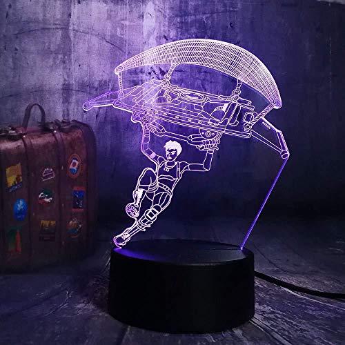 3D illusie heeft licht geschenken kerstmis nachtlicht parachutelamp LED 3D 7 kleuren nachtlicht kerstverlichting voor kinderen met afstandsbediening