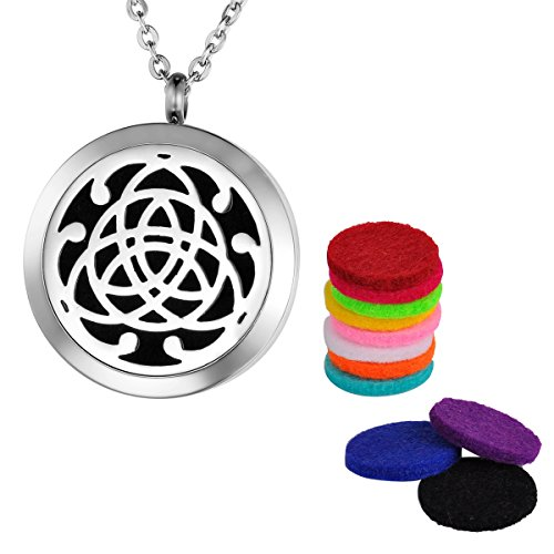 Valyria Aromatherapy Essential Oil Diffuser Necklace, Stainless Steel Celtic Knot Locket Pendant