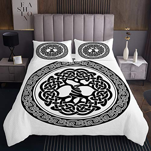Celtic Knot Bedspread Elegant Celtic Lines Bedding Set for Kids Boys Girls Retro Medieval Style Coverlet Set Abstract Art Daybed Ultra Soft Decorative Room with 2 Pillow Cases Queen Size