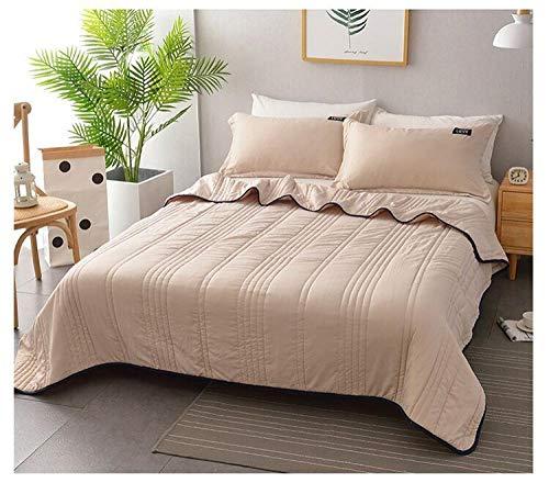 piumone Matrimoniale caleffi Amazon Lavaggio Macro Estate Cool, Solid Color Air Condizionatore Reversibile, Singola Trapunta Sottile Doppia Luce-Cammello_200 * 230 cm.