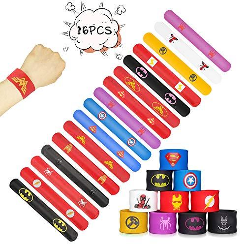 WeyTy Superheld Armband, Bunte Schnapparmbänder für Kinder Superhelden Slap Bands Superhelden Kindergeburtstag Supplies Gefälligkeiten für Kinder Jungen & Mädchen Birthday Party liefert(16 Stück)