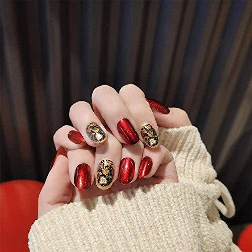 TJJF Faux ongles False Nails 24 Boxed/Boxed Titanium Print Pearl Light Red Fake Nails