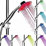 CONMING 7 couleurs LED Lights pommeau de douche automatique LED 2 modes pommeau de douche avec jet d'air LED Turbo pression-booster technologie de la buse pour la salle de bains