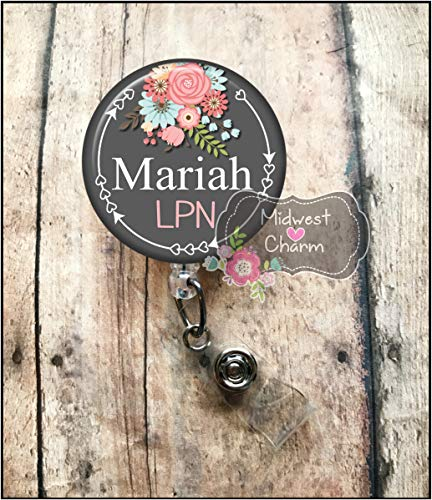 gray/floral..Retractable badge holder, nurse gift, ob, L&D, id holder, reel, RN, LPN, CNA Personalized Christmas Gift Midwest Charm