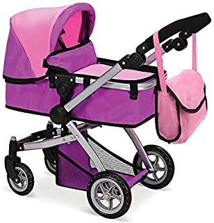 Mommy & Me Doll Collection Babyboo Deluxe Doll Pram Color Pink and Purple with Swiveling Wheels & Adjustable Handle and Free Carriage Bag - 9651B Pink And Purple
