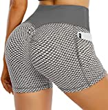 OUYISHANG Yoga TIK Tok Sexy Shorts Scrunched Butt Lifting Volleyball Booty Workout Short for Women Running High Waisted with Pocket Women Yoga Shorts White Grey S