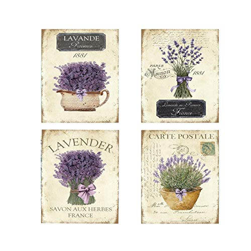 Set of 4 Vintage French Lavender Canvas Prints