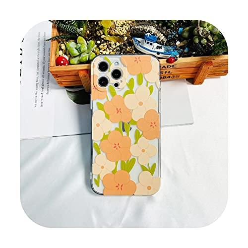 hermosa flor floral transparente a prueba de golpes suave caso del teléfono para iphone 12 pro max 12 mini 11 pro max x xs xr 7 8 6s plus se 2020-transparente F-iphone 12