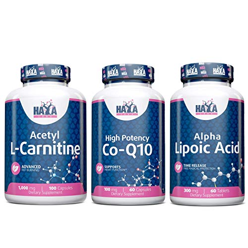 Haya Labs Bundle Sustained Release Alpha Lipoic Acid 300mg. / 60 Vtabs. + High Potency Co-Q10 100mg. / 60vcaps. + Acetyl L-Carnitine 1000mg / 100 Caps.