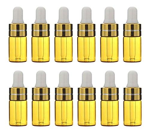 12PCS 3 ML Vidrio Aceite Esencial Botellas Cuentagotas Maquillaje Cosmético Frasco Contenedor Jarra con Eye Glassper Aromatherapy Muestra de Perfume Attar Frascos (Marrón)