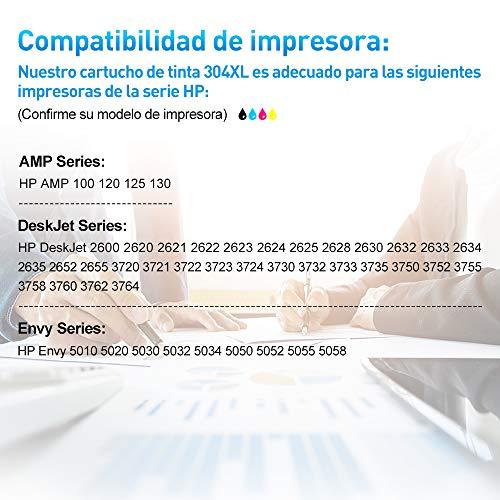 Clywenss 304 XL Remanufacturado Cartuchos Compatible con HP 304XL para HP Envy 5010 5020 5030 5032 5050 Deskjet 2620 2622 2630 2632 2633 2634 3720 3730 3733 3735 3750 3760 3762 (1 Negro, 1 Tri-Color)