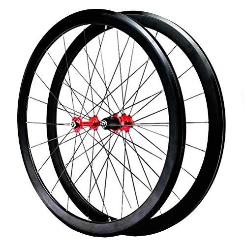 Rennrad Laufradsatz 700C Doppelwandige Leichtmetallfelge 40mm C/V-Bremse Schnellspanner 7/8/9/10/11/12 Kartenhub 1890g (Color : C)