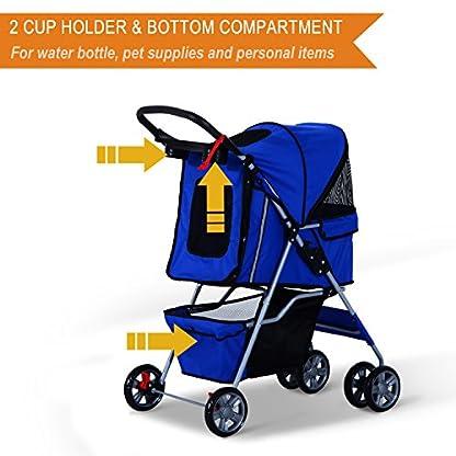 PawHut Pet 4 Wheels Travel Stroller Dog Cat Pushchair Trolley Puppy Jogger Folding Carrier (Blue) 2