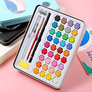 Caja de pintura de acuarela Kit de 36 colores Pintura de acuarela sólida Principiante profesional Lápices de colores Dibujo Paleta de colorear Acuarela Viaje portátil para artista Estudiante: Amazon.es: Hogar