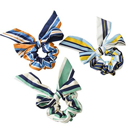 Lurrose 3pcs rayures de couleurs mixtes cheveux chouchous bowknot bandes de cheveux détenteurs de queue de cheval chouchous oreille de lapin