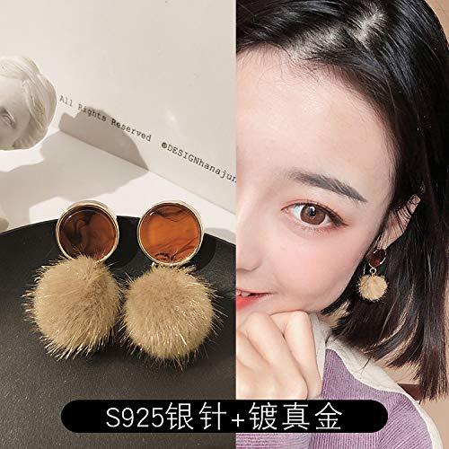 Chwewxi Herbst und Winter Elegante kleine Haare Ball Ohrringe koreanische Temperament einfache Damen Ohrringe Ohrringe, braune Haare Ball Acetat Tabletten (Silber Nadel)