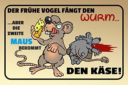 FS Spreuk Der frühe Vogel metalen bord bordje gewelfd Metal Sign 20 x 30 cm