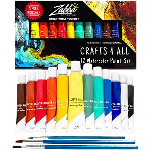 Watercolor Paint Set by Crafts 4 All 12 Premium Quality Art Watercolors Painting Kit for Artists, Students & Beginners - Perfect for Landscape and Portrait Paintings on Canvas (12 x 12ml)