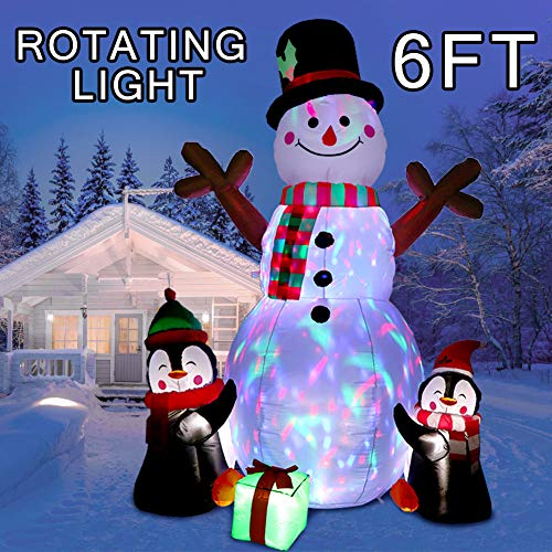 OurWarm 6ft Christmas Inflatables Christmas Decorations Outdoor Inflatable Snowman Penguin Blow Up Yard Decorations with Rotating LED Lights for Indoor Outdoor Christmas Decorations Yard Garden Decor