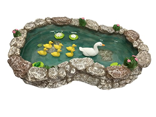 GlitZGlam Duck Pond -Mother and Ducklings! A Miniature Duck Pond for a Miniature Fairy Garden and Miniature Garden Accessories