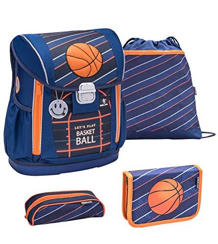 Belmil 404-20 Schulranzen Set 4 - teilig ergonomischer Schulranzen Größen verstellbar Jungen 1. klasse 2. klasse 3. klasse - gepolsterter Hüftgurt und Brustgurt/Basketball Blau (Champion)