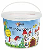 Kreul 40155 - Window Color Power Pack Burg, für kleine und große Kreative, 6 x 125 ml Fensterfarben, 125 ml Konturenfarbe schwarz, Spezialfolie und über 70 Motivvorlagen