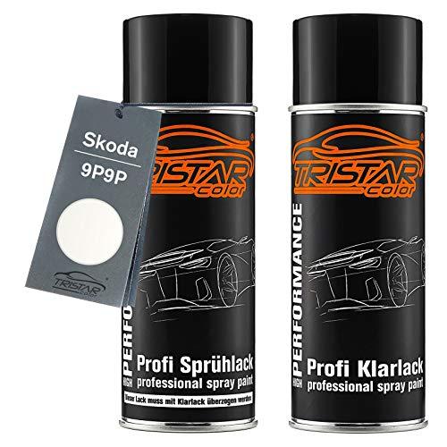 TRISTARcolor Autolack Spraydosen Set für Skoda 9P9P Sugar White/Candy White/Blanc Cristal Basislack Klarlack Sprühdose 400ml