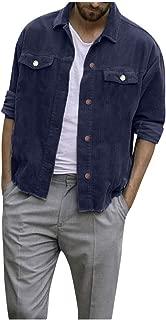 Men's Casual Coat Autumn Winter Pure Warm Outerwear Button Corduroy Long Sleeve Lapel Jacket