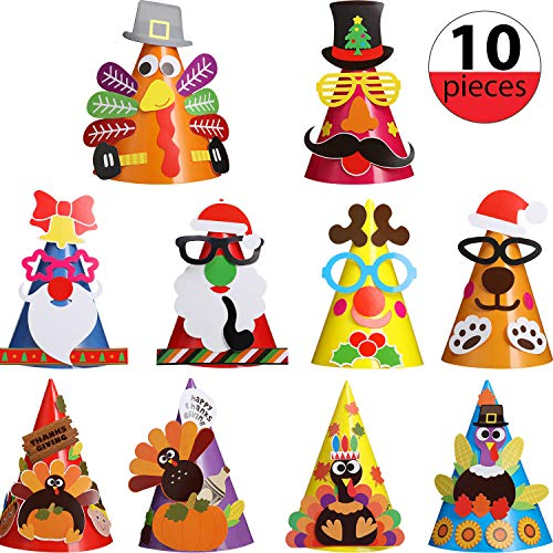 Sale!! 10 Sets Party Hats, DIY Craft Colorful Hats Fun Celebration Kits for Birthday Christmas Thank...