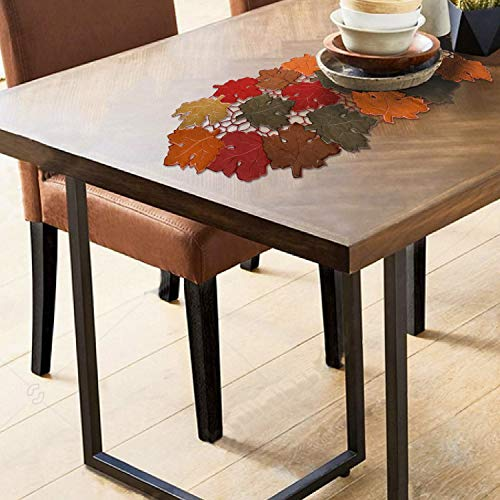 Owenie Fall Leaves Table Runners,Thanksgiving Centerpieces for Tables, 13Inch x 34Inch Embroidered Maple Leaf table decor for Harvest, Autumn Farmhouse Decorations for Home Settings, Machine Washable.