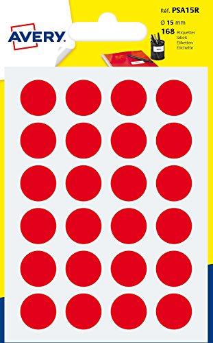 Avery Italia PSA15R Etichette Adesive Rotonde, A6, Rosso, 168 Pezzi
