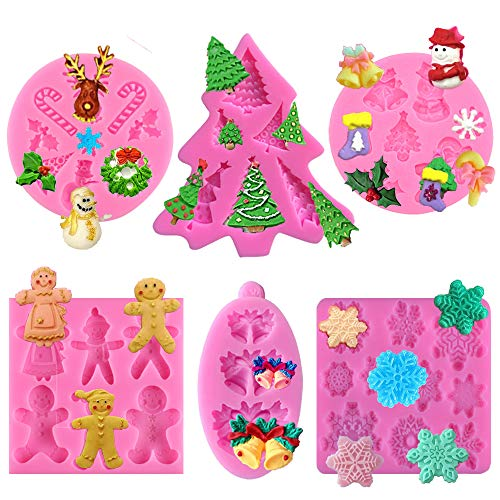 6 Pcs Christmas Fondant Mold, Silicone Chocolate Candy Mold for Xmas Birthday Party Cake Decoration Cupcake Topper(Gingerbread Man Christmas tree santa claus snowflake elk)