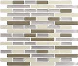 Peel and Impress - Easy DIY Peel and Stick Adhesive Backsplash Tiles, 24060 Desert Sand, Oblong, 11' x 9.25' (4 Tiles)