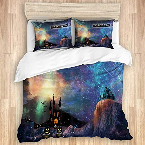 Yoyon Duvet Cover,Halloween Moonlight Eve Party Castle and Pumpkins at Gothic Forest in Fantasy Nebula,Quality Microfiber Bedding Set Ultra Softness Comfortable Modern Design