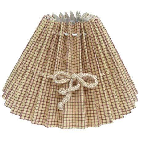Quaint & Quality Lampenschirm, rund, beige, kariert, Durchmesser 40 cm, mit Band für Schleife