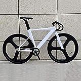 NTR Bicicletta da Pista con Telaio in Lega di Alluminio per Bici Fissa Doppia Ruota a 3 Razze e Freno a V, Bianco, 56 cm (180-190 cm)
