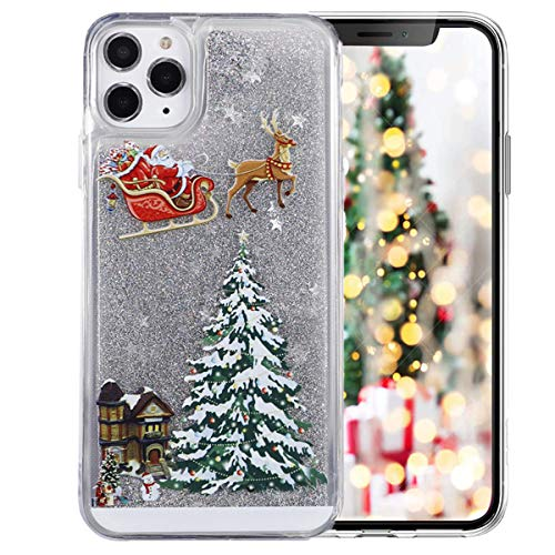 Topwin Christmas Case Compatible with iPhone 12/iPhone 12 Pro, Liquid Floating Flowing Quicksand Bling Glitter Sparkle Snowman Santa/Elk Tree Shockproof Case for Apple iPhone 12/12 Pro 6.1'' (Silver)