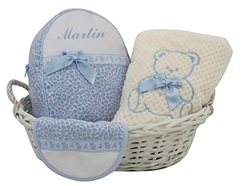 Canastilla con nombre de bebé bordado, modelo Osito (Azul)