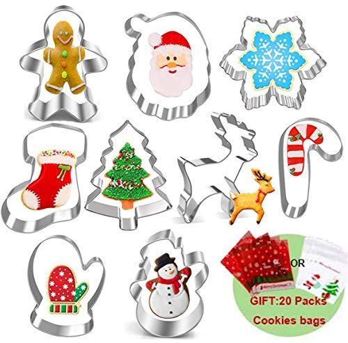 Set di 9 formine per biscotti natalizi, formine per biscotti con 20 sacchetti per biscotti per fare pan di zenzero, fiocchi di neve, renna, pupazzo di