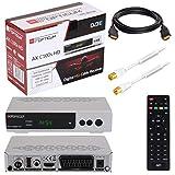 HB Digital Set Opticum AX C100 HD Receptor para televisión por cable digital HDMI SCART USB 2.0 LAN PVR ready reproductor multimedia+ HDTV Cable de antena con filtro de corriente aislante + Cable HDMI