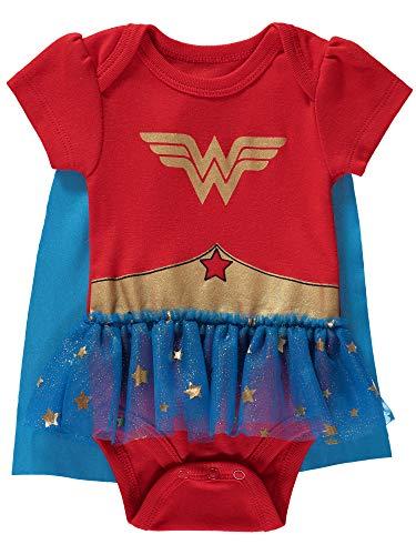 DC Comics macacão feminino para bebês da Mulher Maravilha, vestido de tutu e capa removível, Red/Blue/Gold, 3-6M