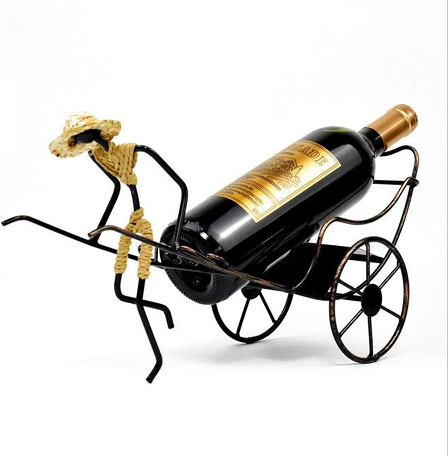Wrought Iron Wine Rack Rickshaw Vintage Decoration Living Room Dining Room KTV Kitchen Display Stand Woven Storage Rack