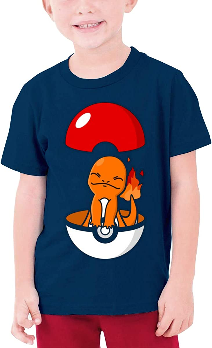 Pet Ball Small Fire Dragon Boy Girl Outdoor Short Sleeve Tee Kids Unisex T-Shirt Top Navy