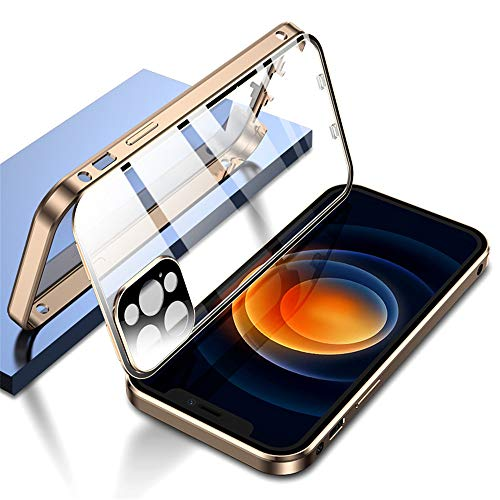 KMXDD Double Safety Lock Case for iPhone 12 Pro Max Bumper Case with Camera Lens Protector Double Sided Glass Built-in Screen Protector 360 Full Body Metal Frame Clear Cover (iPhone12ProMax, Gold)