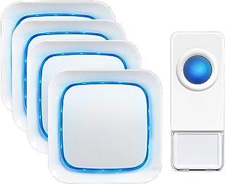 Mopoq Weather-resistant Wireless Doorbell, Electric Door Bell Kit, Over 1000 Feet Range, Multiple Adjustable Volume Option...