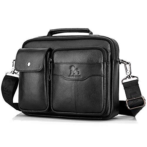 BAIGIO Herren Umhängetasche aus Leder Schultertaschen Herrentasche Business Koffer 8 Zollo IPad Vintage Cross-Body Messenger Bag für Arbeit Reise Alltagsleben (Klassisches Schwarz)