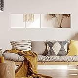 Muzilife Wandspiegel Glas 35x35cm 4 Stücke mit 4 Klebe Mat HD Wandspiegel Spiegelfliesen Set in Küche, Wohn- und Badezimmer