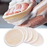 Pad Loofah (Confezione da 5) – Spugne per Scrub Esfoliante – Materiale in Luffa Naturale -Prodotto Essenziale per la Cura Della pelle - per Doccia/Bagno- Texture Fibrosa - per Lavaggio Viso/Corpo