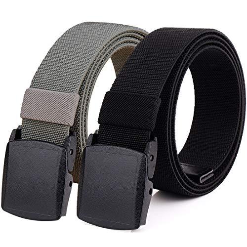 Hoanan 2-Pack Elastic Stretch Belt, Men's Plus Size No Metal Nylon Tactical Hiking Belt(black/grey-up to 42')