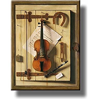 Still Life Violin Picture on Stretched Canvas, Wall Art Décor, Ready to Hang!